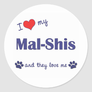 I Love My Mal-Shis (Multiple Dogs) Classic Round Sticker