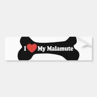 I Love My Malamute - Dog Bone Car Bumper Sticker