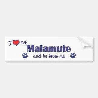I Love My Malamute (Male Dog) Bumper Sticker