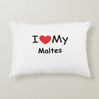 I love my Maltes dog Accent Pillow