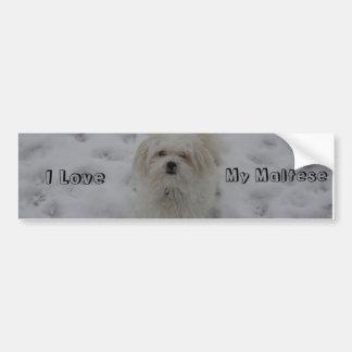 I Love, My Maltese Bumper Sticker
