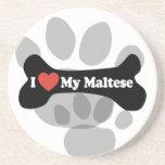 I Love My Maltese - Dog Bone Beverage Coaster