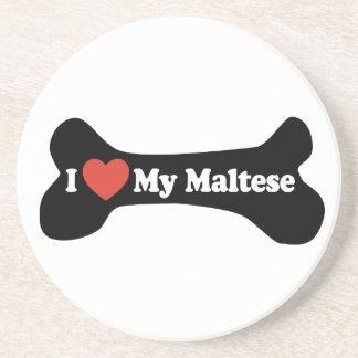 I Love My Maltese - Dog Bone Drink Coasters