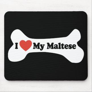I Love My Maltese - Dog Bone Mouse Pad