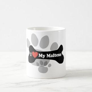I Love My Maltese - Dog Bone Classic White Coffee Mug