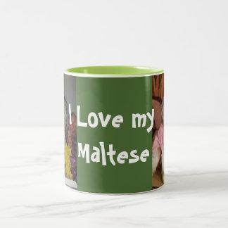 I love my  Maltese dog Two-Tone Coffee Mug