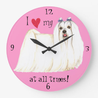 I Love my Maltese Large Clock