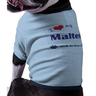 I Love My Maltese (Male Dog) Pet Tshirt