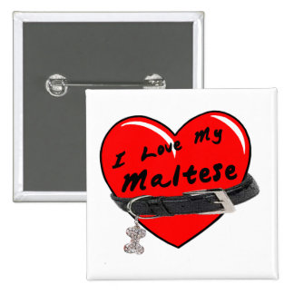 I Love My Maltese Red Heart with Dog Collar 2 Inch Square Button