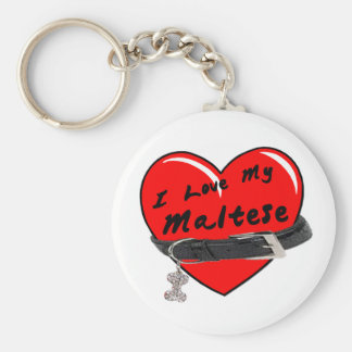 I Love My Maltese Red Heart with Dog Collar Basic Round Button Keychain