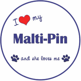I Love My Malti-Pin (Female Dog) Photo Sculpture