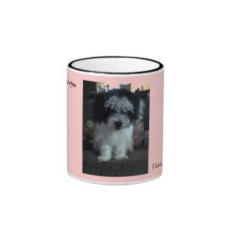 I Love My Malti-poo, pink Ringer Coffee Mug