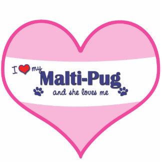 I Love My Malti-Pug (Female Dog) Photo Sculpture Ornament
