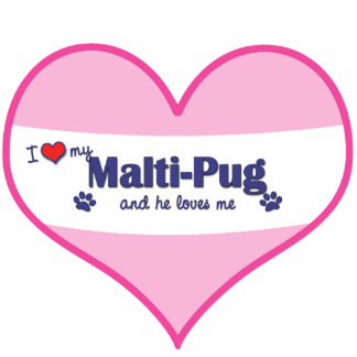 I Love My Malti-Pug (Male Dog) Photo Cut Outs