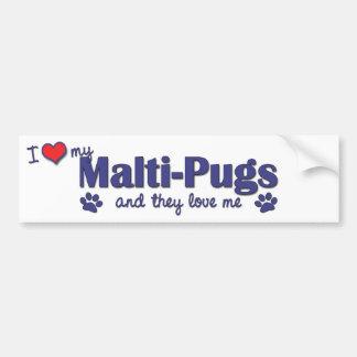 I Love My Malti-Pugs (Multiple Dogs) Bumper Stickers
