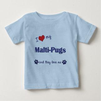 I Love My Malti-Pugs (Multiple Dogs) Tee Shirts