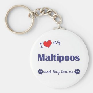 I Love My Maltipoos (Multiple Dogs) Basic Round Button Keychain