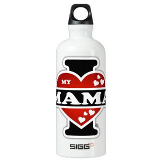I Love My Mama Heartbeats Aluminum Water Bottle