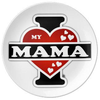 I Love My Mama Heartbeats Porcelain Plate