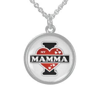 I Love My Mamma Heartbeats Round Pendant Necklace