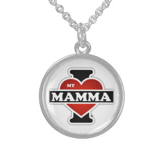 I Love My Mamma Round Pendant Necklace