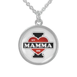 I Love My Mamma To Infinity Round Pendant Necklace