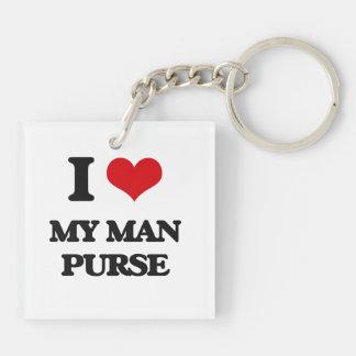 I love My Man Purse Double-Sided Square Acrylic Keychain