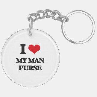 I love My Man Purse Double-Sided Round Acrylic Keychain