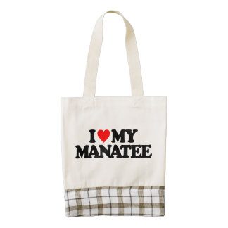 I LOVE MY MANATEE ZAZZLE HEART TOTE BAG