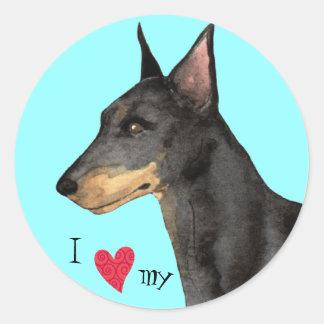 I Love my Manchester Terrier Classic Round Sticker