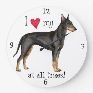 I Love my Manchester Terrier Large Clock