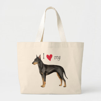 I Love my Manchester Terrier Large Tote Bag