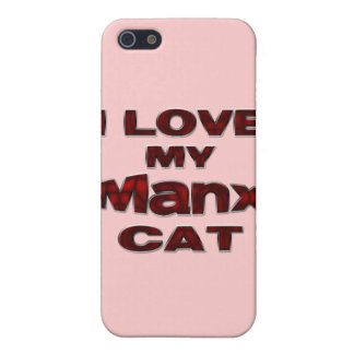 I LOVE MY MANX CAT drk rd Cover For iPhone SE/5/5s