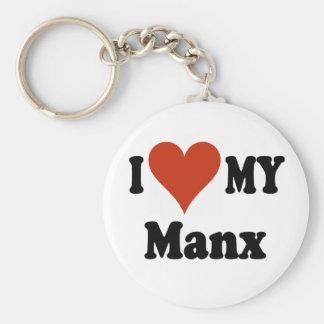 I Love My Manx Cat Merchandise Basic Round Button Keychain
