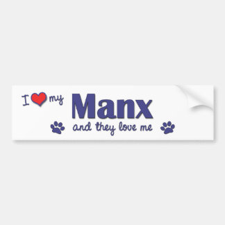 I Love My Manx (Multiple Cats) Bumper Sticker