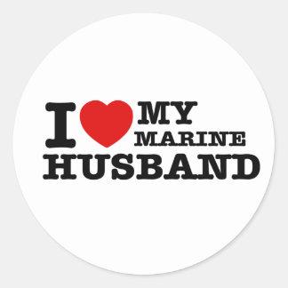 I love my marine husband classic round sticker