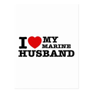 I love my marine husband postcard