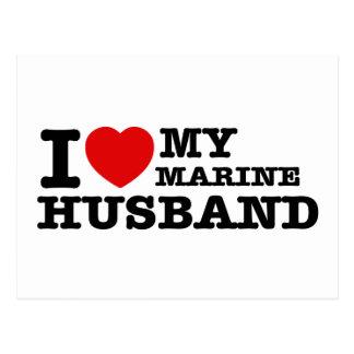 I love my marine husband post card