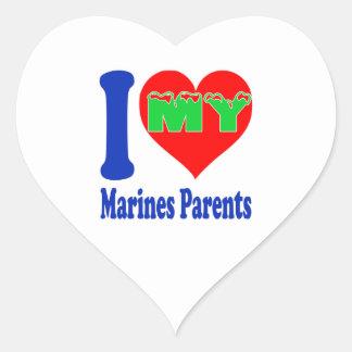 I love my Marines Parent. Heart Stickers