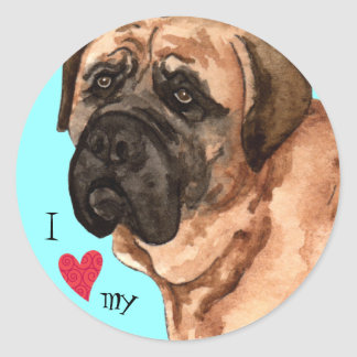 I Love my Mastiff Classic Round Sticker