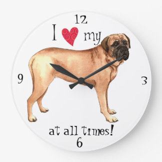 I Love my Mastiff Large Clock