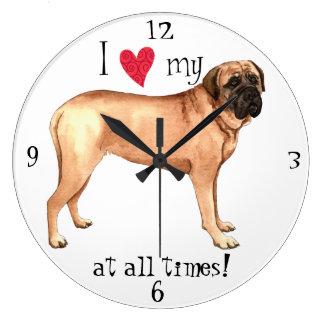 I Love my Mastiff Large Clock