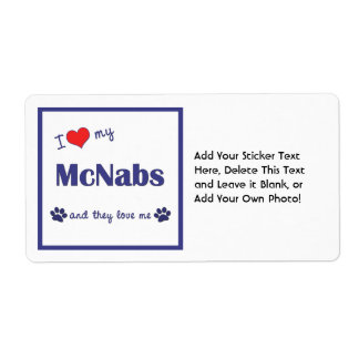 I Love My McNabs (Multiple Dogs) Shipping Label