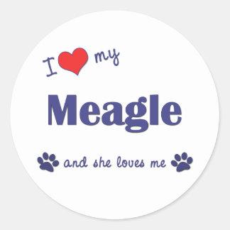 I Love My Meagle (Female Dog) Classic Round Sticker
