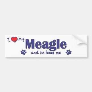 I Love My Meagle (Male Dog) Bumper Sticker