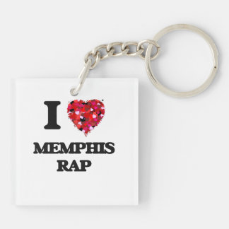 I Love My MEMPHIS RAP Double-Sided Square Acrylic Keychain