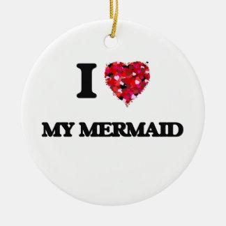 I Love My Mermaid Double-Sided Ceramic Round Christmas Ornament
