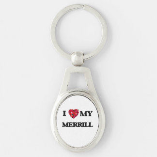 I Love MY Merrill Silver-Colored Oval Metal Keychain