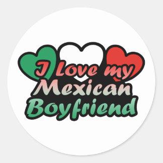I Love My Mexican Boyfriend Round Stickers