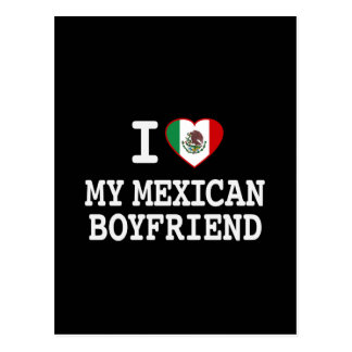 I love my Mexican Boyfriend with Heart Flag Postcard